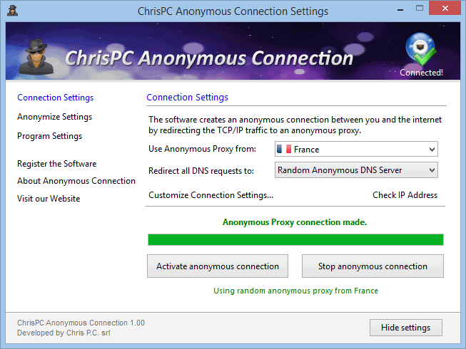 ChrisPC Anonymous Proxy Pro for greater security and privacy