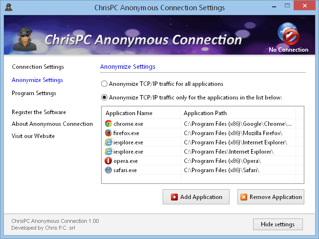 ChrisPC Anonymous Connection for greater security and privacy